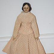 Antique Doll Covered Wagon Milliner's Model Wood & Papier Mache Miniature Dollhouse