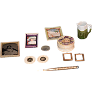 Antique Doll Miniature Lot Dollhouse Frames Photograph Tin Types Book Powder Box Pottery Gold Pencil Fashion Doll