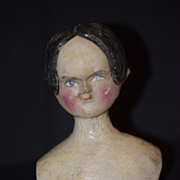 Antique Doll Carved Wood Doll Head Wonderful Features