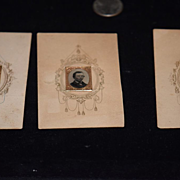 Antique Doll Miniature Gem Miniature On Original Decorative Card with Frame Set Photographs Dollhouse
