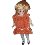 Antique Doll Miniature Bisque All Bisque Mignonette Dollhouse Blue Stockings French Market Turned Head