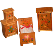 Old Doll Miniature Dollhouse Furniture Dutch ? Wood Hand Painted
