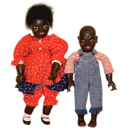 Vintage Doll Set Patti Hale Wood Carved Black Dolls