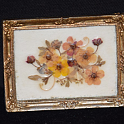 Doll Miniature Picture Flowers signed Jean Warrington Dollhouse