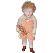 Vintage Doll Bisque Boy with Teddy Bear Jointed Artist Margo Gregory Miniature Dollhouse
