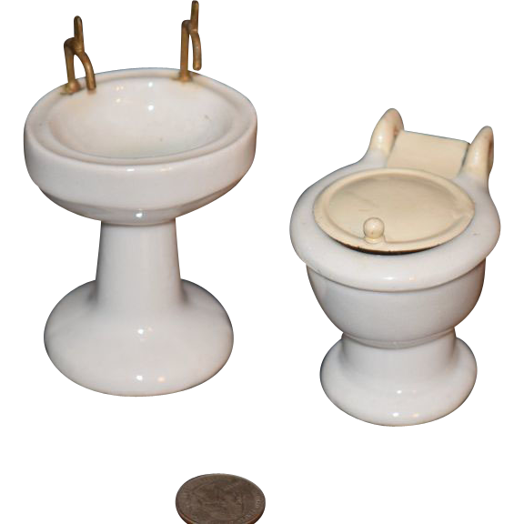Vintage Toy Potty : Old doll miniature dollhouse toilet sink porcelain sold on