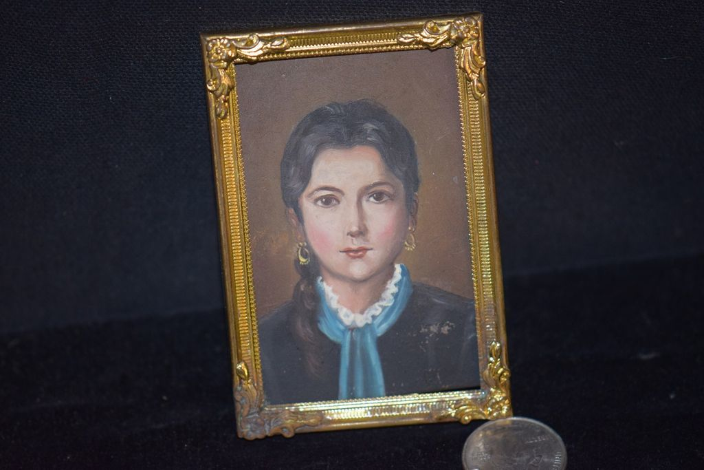 Antique Doll Miniature Painting Portrait Lady In Gold