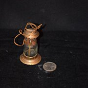 Old Doll Miniature Brass & Old Glass Lantern Dollhouse French Fashion Doll Size