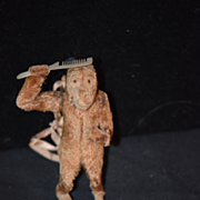 Antique Doll Toy Mechanical Monkey Brushing Hair Wind Up WONDERFUL German Tin Monkey with Comb