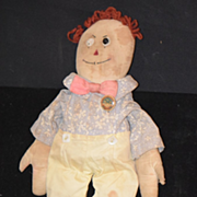 Antique Doll Cloth Raggedy Andy Shoe Button Eyes Original Clothing Volland Gruelle Rag Doll Early