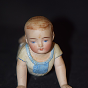Old Doll Bisque Piano Baby Crawler Small Size Exposed Bum