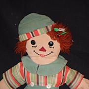 Old Doll Cloth Raggedy Andy Sleep Awake Rag Doll Shoe Button Eyes