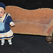Old Doll Miniature Sofa Couch Dollhouse Wonderful