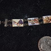 Old Doll Bracelet French Fashion Doll Enamel Unusual Link