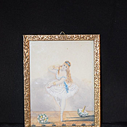 Antique Doll Miniature Ballerina French Girl Painting Wonderful Water Color Ballet Dollhouse