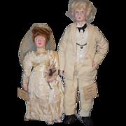 Old Eubank Dolls Doll Set Bride & Mark Twain Wonderful W/ Original Tags Character Dolls