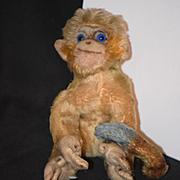 Antique Steiff Monkey Blue Mohair Button in Ear