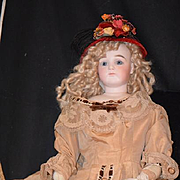 Antique Doll French Bisque Portrait Jumeau Fashion Doll