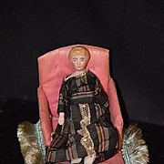 Antique Doll Bisque Lady Dollhouse W/ Chaise Lounge Sofa Miniature
