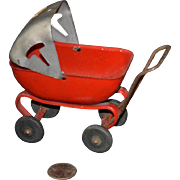 Old Doll Miniature Metal Buggy Carriage Stroller W/ Changing Shade Cover