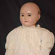 Antique Doll Sonneberg Wax over Papier Mache Tauffling Baby Glass Eye GORGEOUS Paper Mache