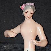 Old Doll Half Doll China Head Unusual Look Fancy Eyes Arms Away