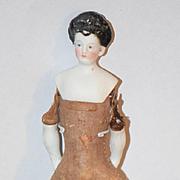 Antique Doll Miniature Bisque China Head Fancy Hair Style Dollhouse Wonderful Pierced Ears