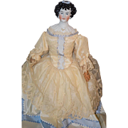 Antique Limbach Irish Queen Doll China Head Fancy Bisque Lady Fancy Sculpted Hair & Bodice