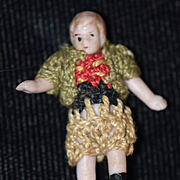 Antique Doll Miniature Tiny All Bisque Doll Jointed Dollhouse Crochet Outfit