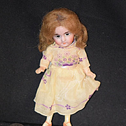 Antique Doll Bisque Miniature Dollhouse Fancy Heels Painted Thigh High Stockings Yellow Shoes