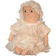 Old Doll Cloth Rag Doll Sewn Features Adorable Face