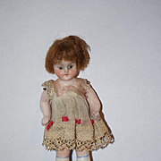 Antique Doll Miniature All Bisque Glass Eye Dollhouse Doll Original Clothing