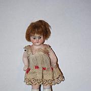 Antique Doll Miniature All Bisque Glass Eye Dollhouse Doll Original Clothing