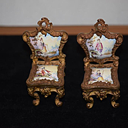 Antique Doll Miniature French Chairs Enamel with Scenes Gilt Ornate