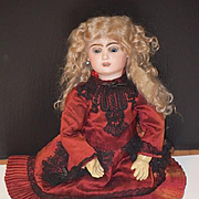 Antique Doll French Bisque BeBe Jumeau GORGEOUS Chunky Body Wood & Composition W/ Old French Written Information Tag