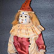 Antique Doll Bisque Clown Jester Doll Dressed Wonderful