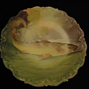 Antique Limoges Hand Painted Fish Plate Platter Signed Gorgeous