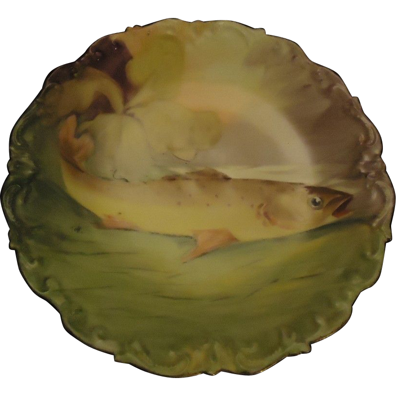 Antique Limoges Hand Painted Fish Plate Platter Signed