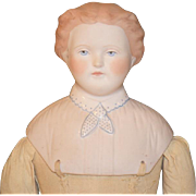 Old Doll Parian Emma Clear Large Doll Interesting Bodice Gentleman