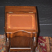 Doll Desk Wood W/ Drawers Leather Top Carved Display Miniatures