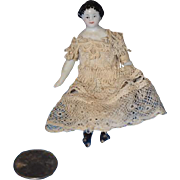 Antique Doll Miniature China Head Dollhouse Fancy Boots & Bows