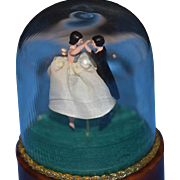 Old Doll Musical Dancing Under Glass Globe Dome Miniature Wonderful Music Box Ballerina Couple