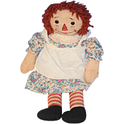 Old Doll Raggedy Ann Johnny Gruelle's Own Georgene Novelties Cloth Doll Rag Doll Tagged Sewn Features... SWEET!