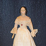 Antique Doll Milliner's Model Wood & Papier Mache Rare Hair Style