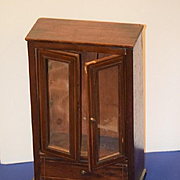 Antique Doll Miniature Cabinet Wood Wardrobe For French Fashion Adorable Glass Front Double Doors
