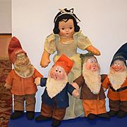 Old Doll Snow White and Seven Dwarfs Cloth Doll Set Disney