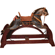 Antique Doll Rocking Horse Wood Carved Old Paint Child Display Works! Unusual Style Old Toy