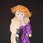 Antique Doll French Bisque Jester Clown Unusual