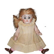 Antique Doll Miniature Dollhouse Doll Kestner All Bisque Jointed Glass Eyes Pink Stockings