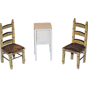 Old Doll Miniature Tynietoy Painted Chair w/ Miniature Wood Cabinet Dollhouse